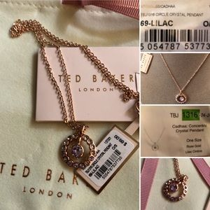 NWT Ted Baker Necklace Crystal Pendent LilacOmbré